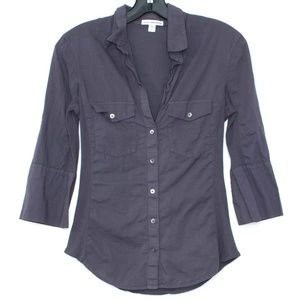 James Perse Womens Top Button Up Gray 2 I1